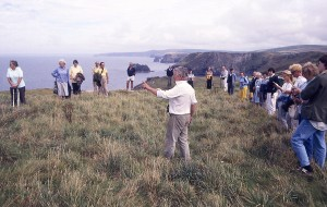 Ex-President of CAS Prof Charles Thomas with members at Tintagel in 1988